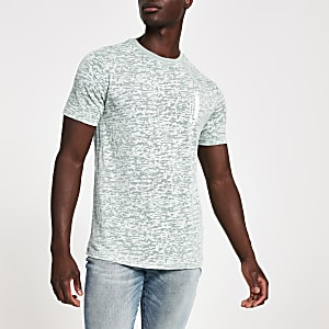 Blue burnout printed slim fit T-shirt