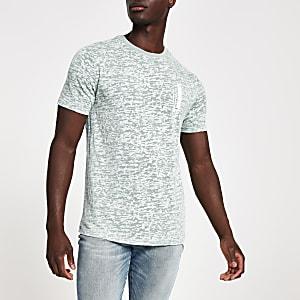 T-shirt slim imprimé bleu effet usé