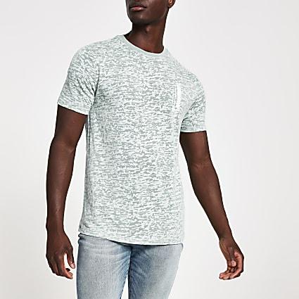 Blue burnout printed slim fit T-shirt