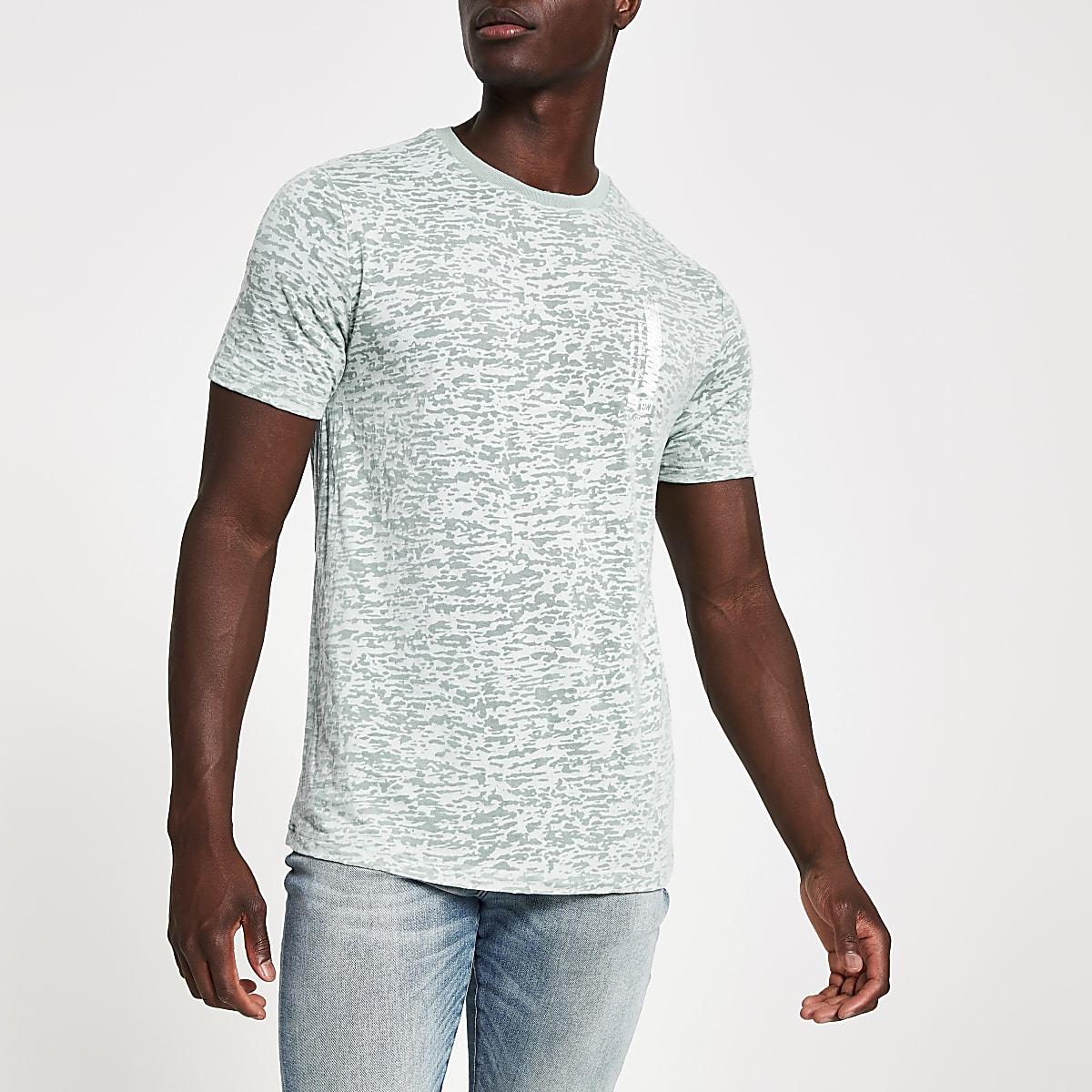 Blauw slim-fit T-shirt met burnout-print