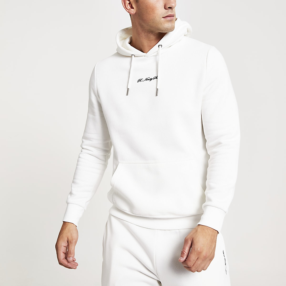 White R96 embroidered slim fit hoodie