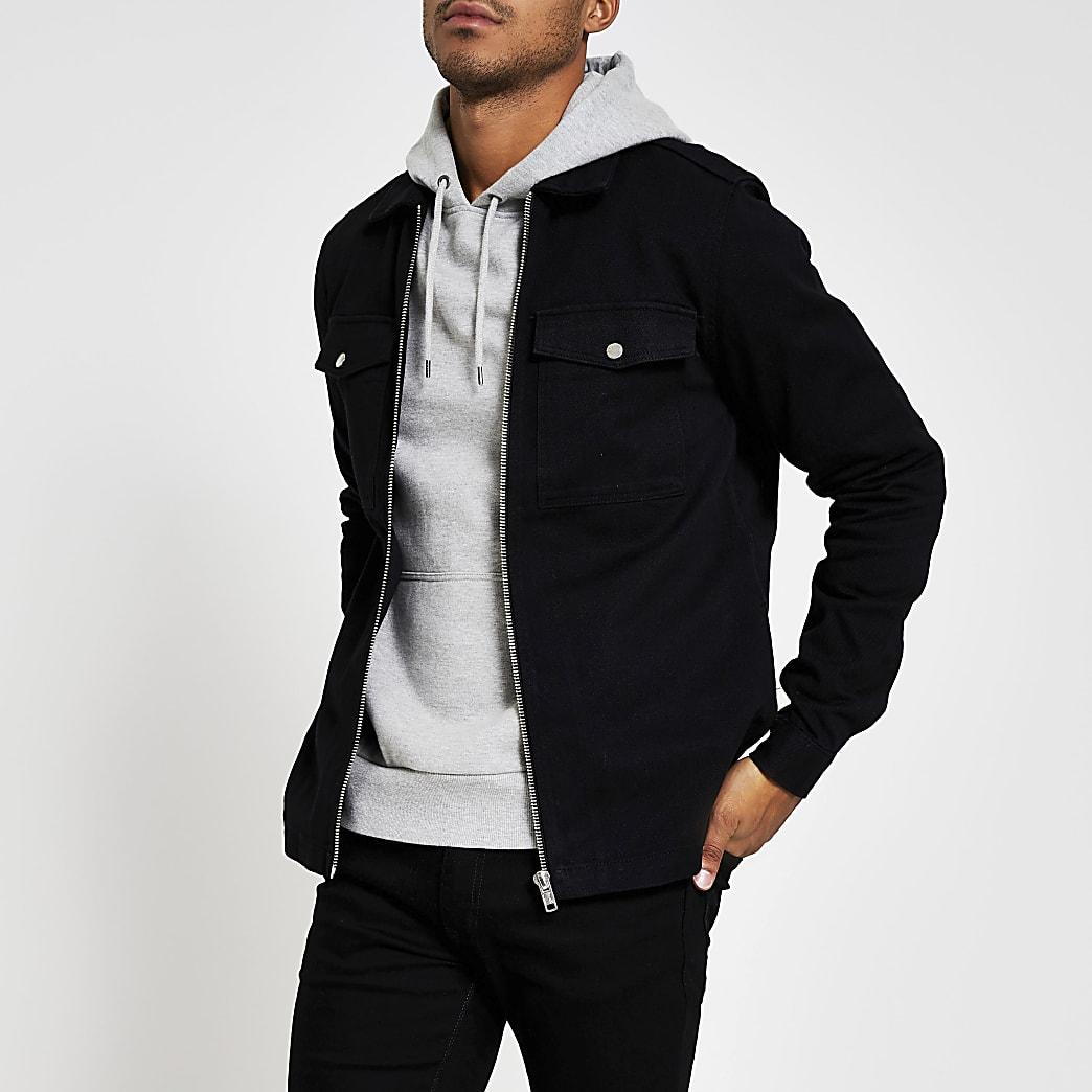 Black zip front regular fit denim overshirt