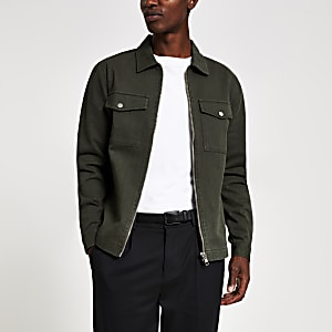 Regular Fit Jeansoberhemd in Khaki mit Reißverschluss