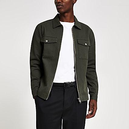 Khaki zip front regular fit denim overshirt