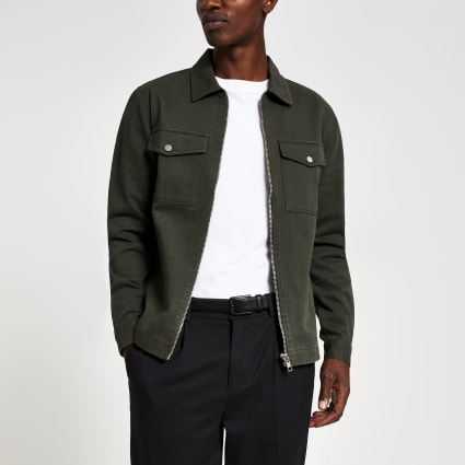 Khaki zip front regular fit denim overshirt