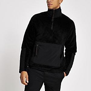 Schwarzes Sweatshirt aus Teddy-Fleece mit kurzem Reißverschluss