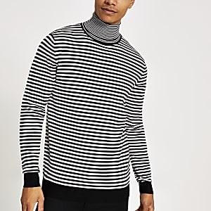 Schwarzer Slim Fit Pullover mit Rollkragen und Mono-Streifen