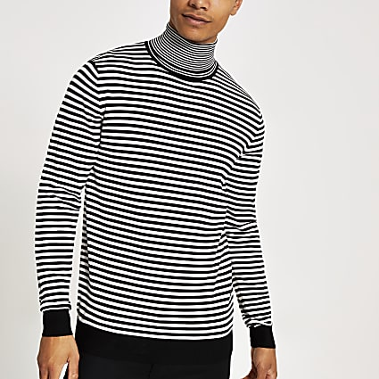 Black mono stripe roll neck slim fit jumper