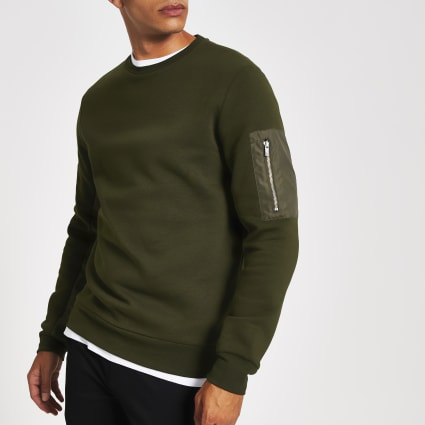 Khaki slim fit utility sweatshirt