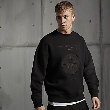 Concept black embossed oversized sweatshirt