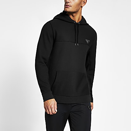 Black slim fit textured 'MCMLXVIII'  hoodie