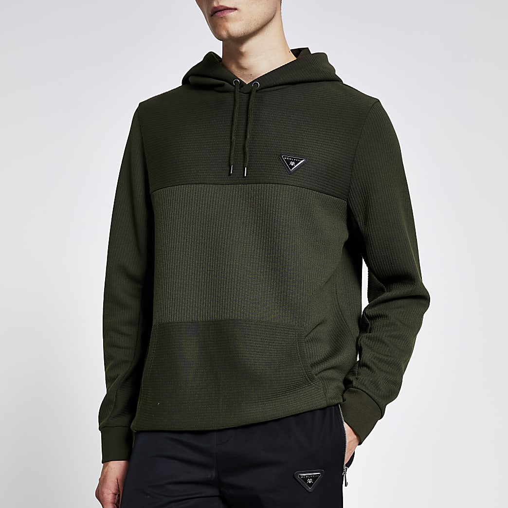 Kaki slim-fit hoodie met textuur en 'MCMLXVIII'-print