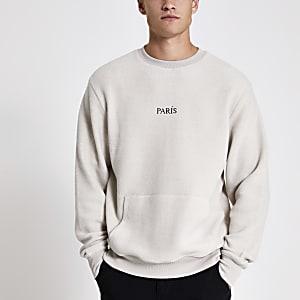 Lichtgrijze fleece pullover met 'Paris' borduursel
