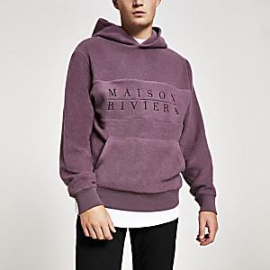 Maison Riviera – Sweatà capuche violet effet brossé