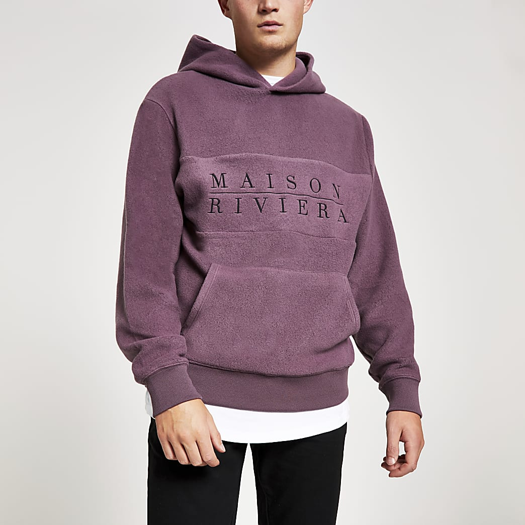 Maison Riviera purple brushed hoodie