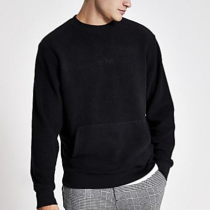 Black 'Paris' embroidered fleece jumper