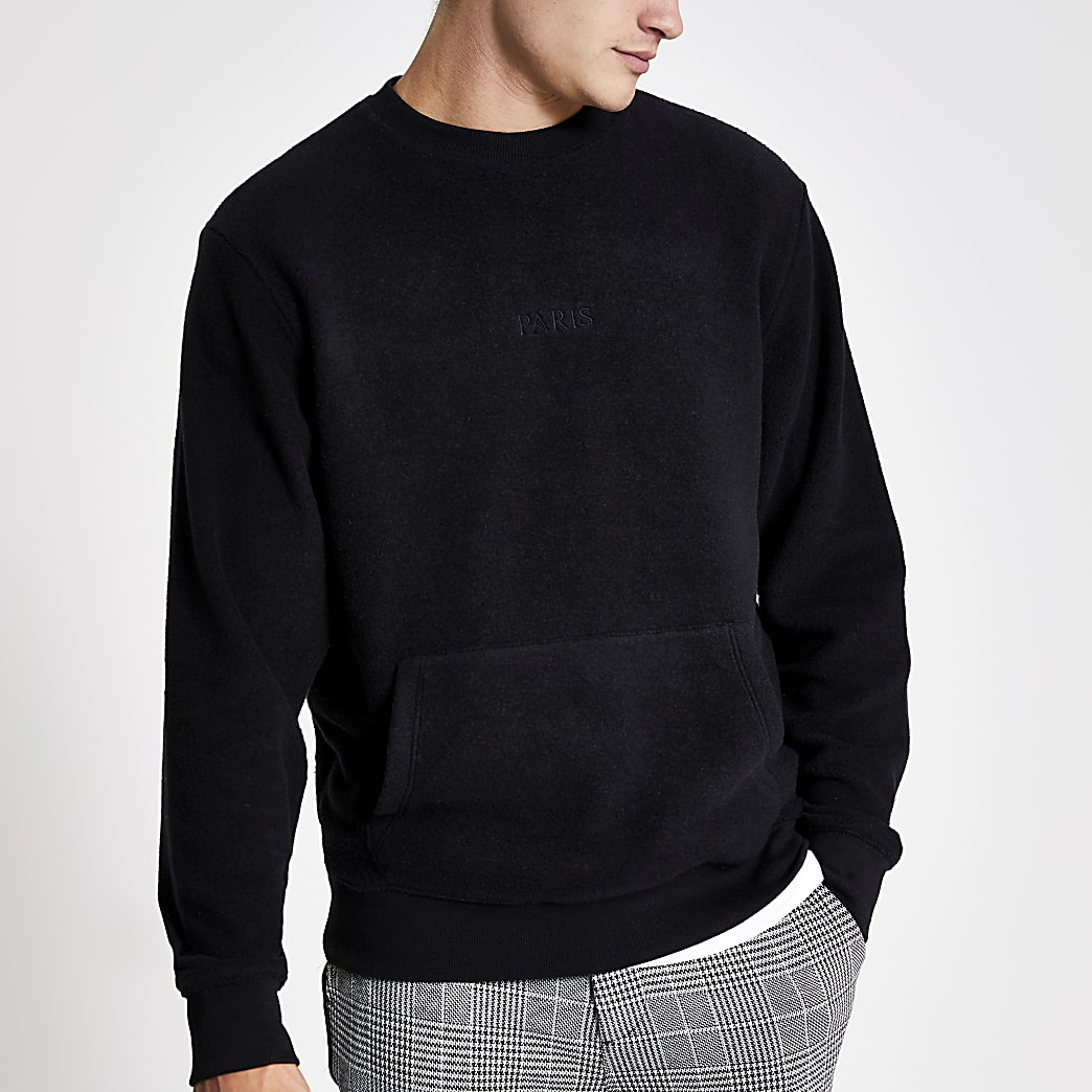 Zwarte fleece pullover met 'Paris' borduursel