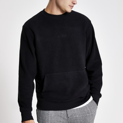 Black 'Paris' embroidered fleece jumper