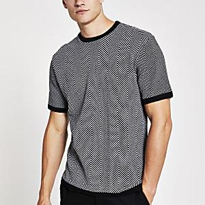 Zwart-wit gebreid T-shirt