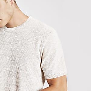 Kiezelkleurig slim-fit T-shirt met textuur