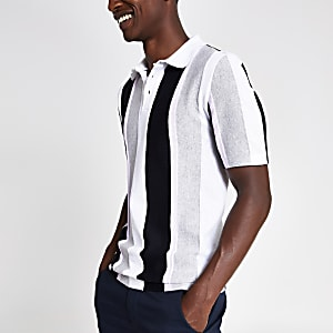 White slim fit stripe knit polo shirt