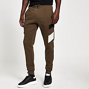 Pantalon de jogging slim Maison Riviera kaki avec empiècementscontrastants