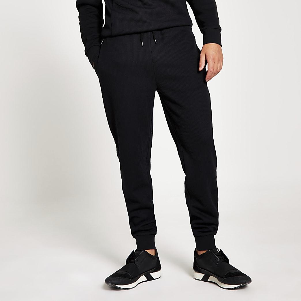 Maison Riviera – Pantalons de jogging slim noir côtelés