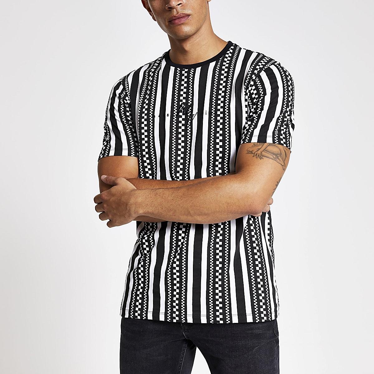 Black checkboard slim fit T-shirt