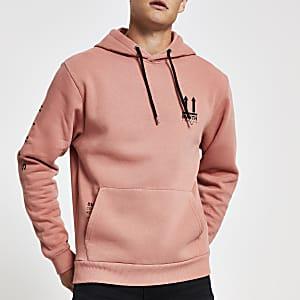 Svnth - Roze hoodiemet borduursel op de borst