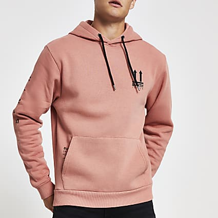Pink Svnth chest embroidered hoodie