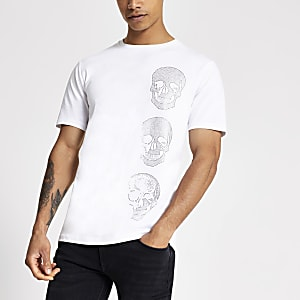 Wit slim-fit T-shirt met glittersteen skull print