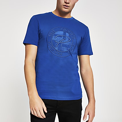 Blue Prolific embossed slim fit T-shirt