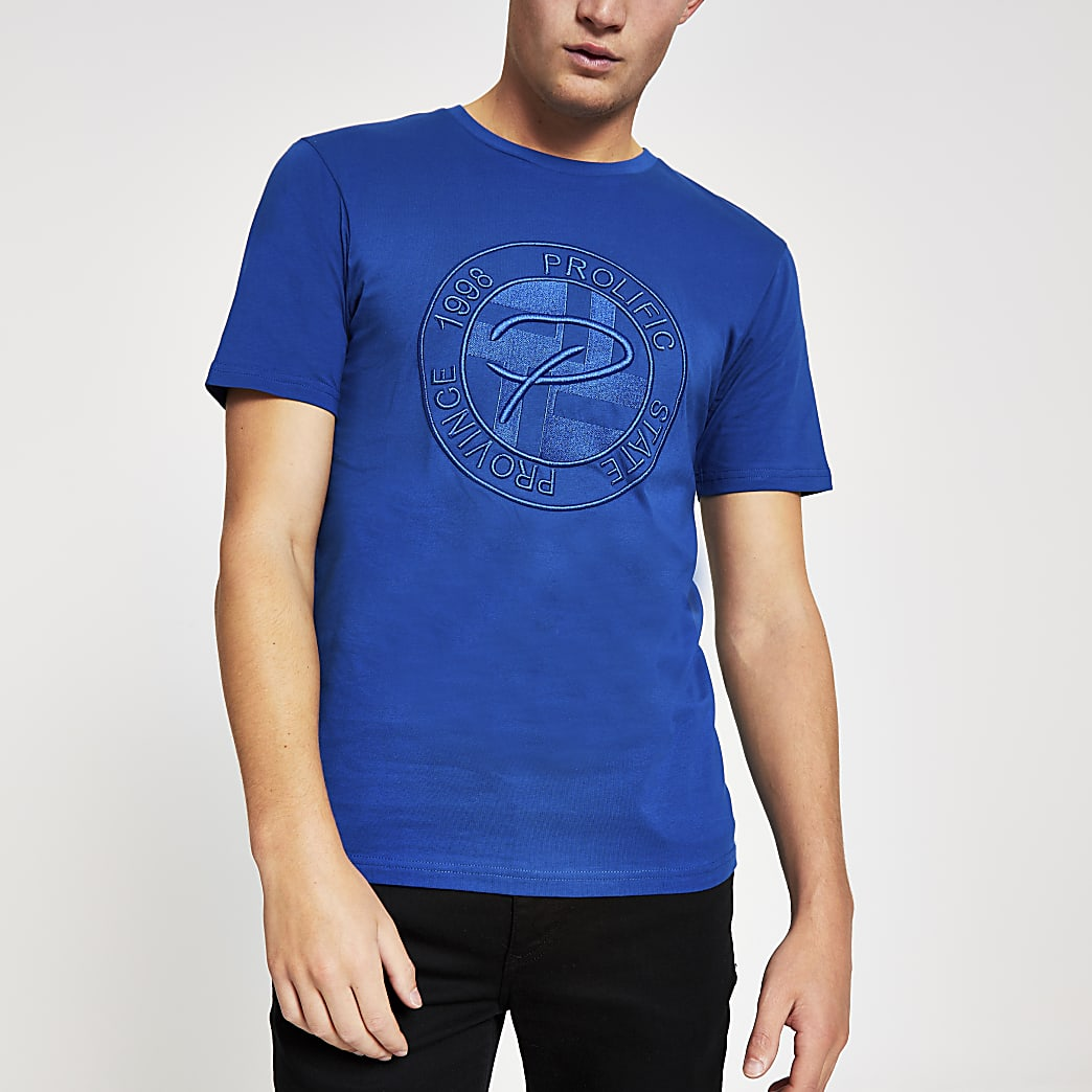Prolific - Blauw slim-fit T-shirt met reliëf