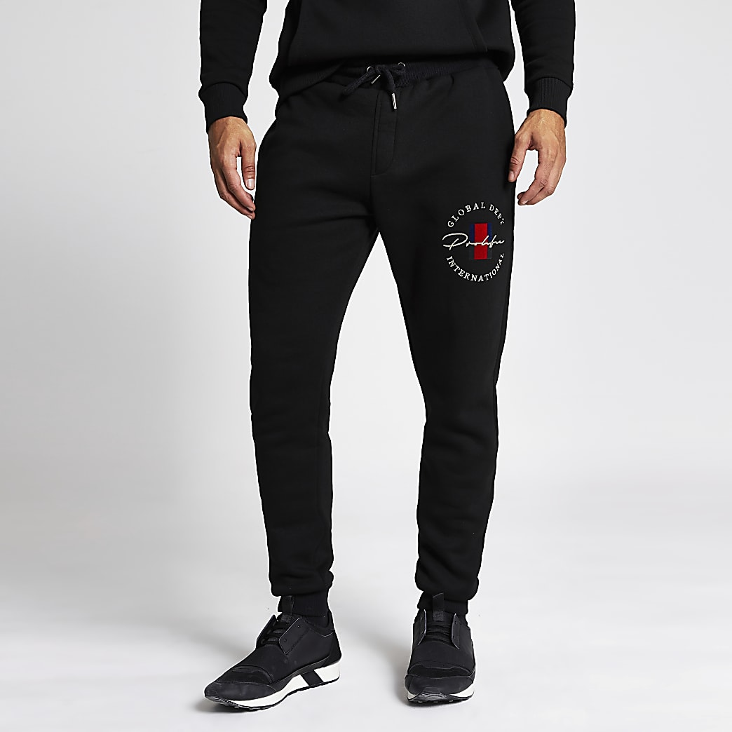 Prolific black crest slim fit joggers