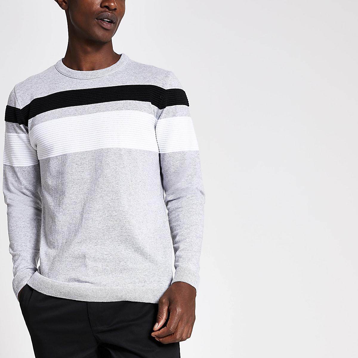 Lichtgrijze slim-fit pullover met kleurvlakken