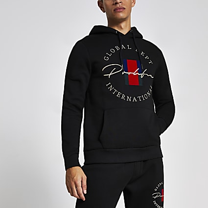 Prolific black crest embroidered hoodie