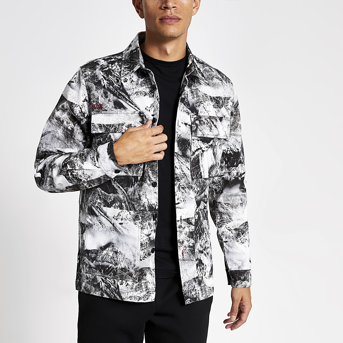 White camo printed long sleeve overshirt