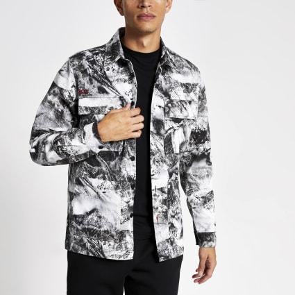White camo printed long sleeve overshirt