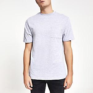 Lichtgrijs T-shirt met korte mouwen en borstzakje