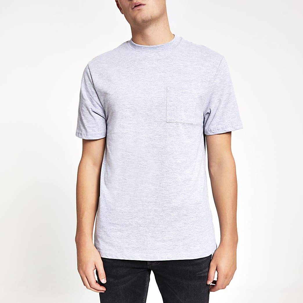 T-shirt gris clair avec poche poitrine et manches courtes