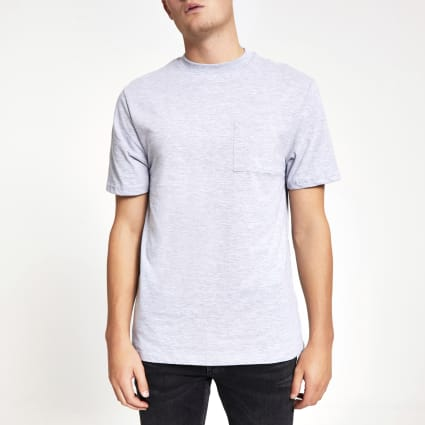 Light grey chest pocket short sleeve T-shirt