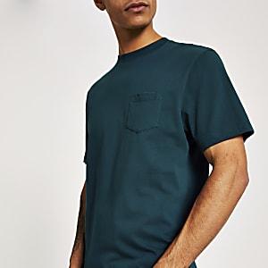 Türkises, kurzärmeliges T-Shirt mit Brusttasche
