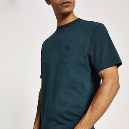 Turquoise chest pocket short sleeve T-shirt