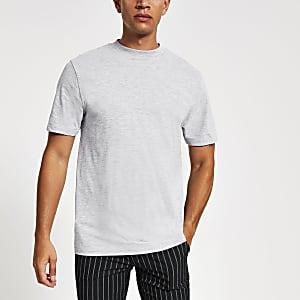 Lichtgrijs T-shirt met korte mouwen