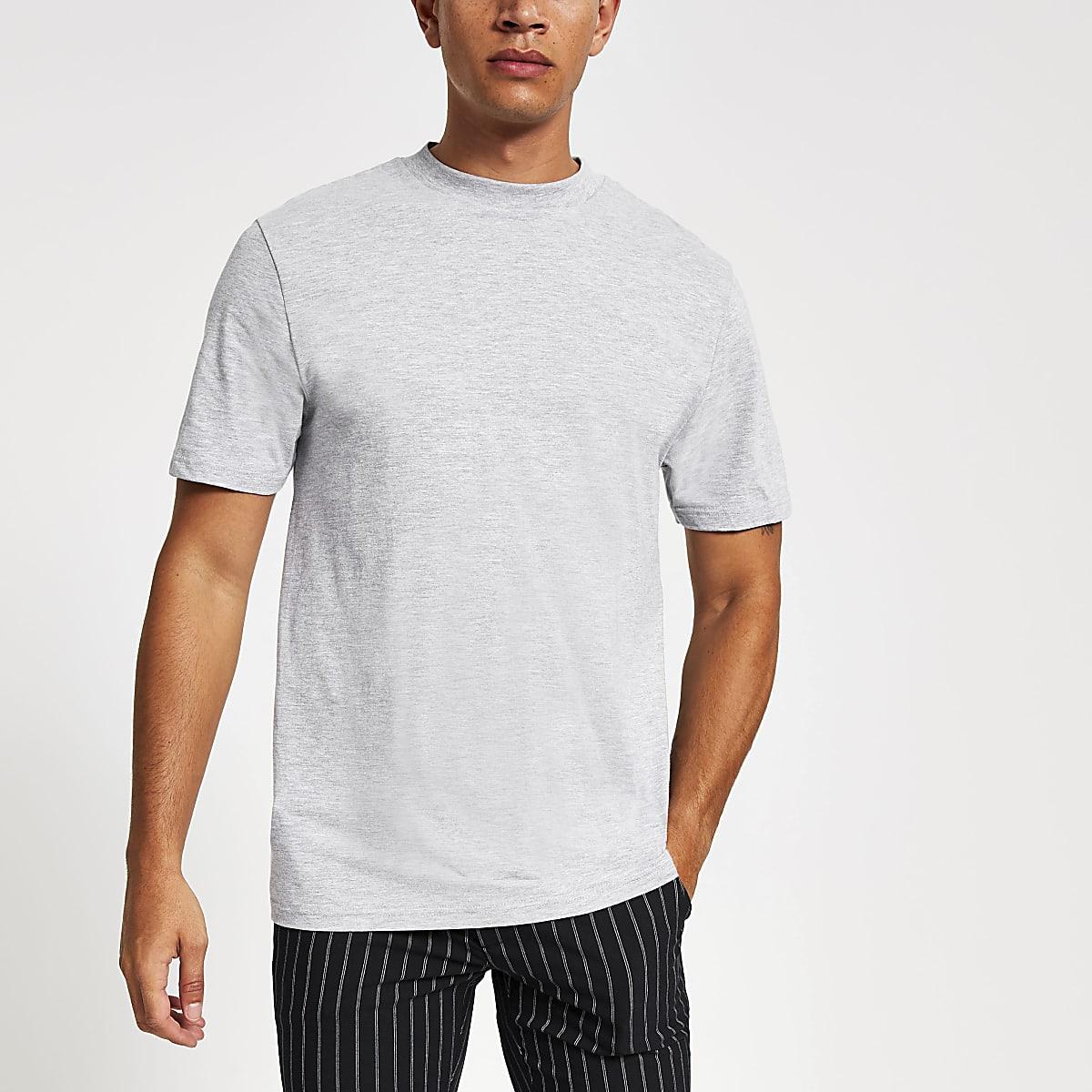 T-shirt gris clair à manches courtes