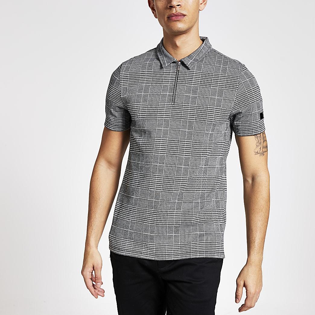 Grey check print zip neck polo shirt