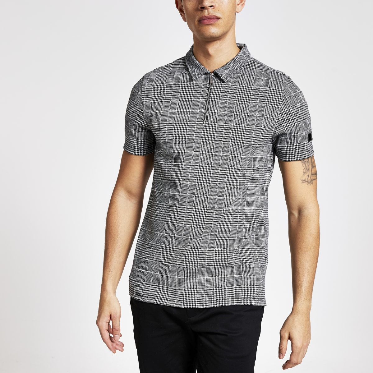 Grey check print zip neck polo shirt