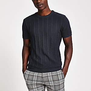 Navy ribbed knit slim fit T-shirt