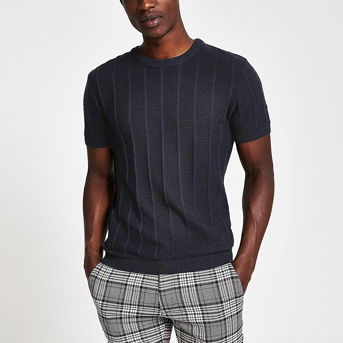 Marineblauw gebreid strak T-shirt met ribbels