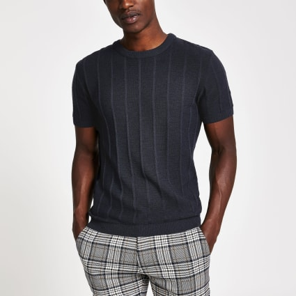 Navy ribbed knitted muscle fit T-shirt